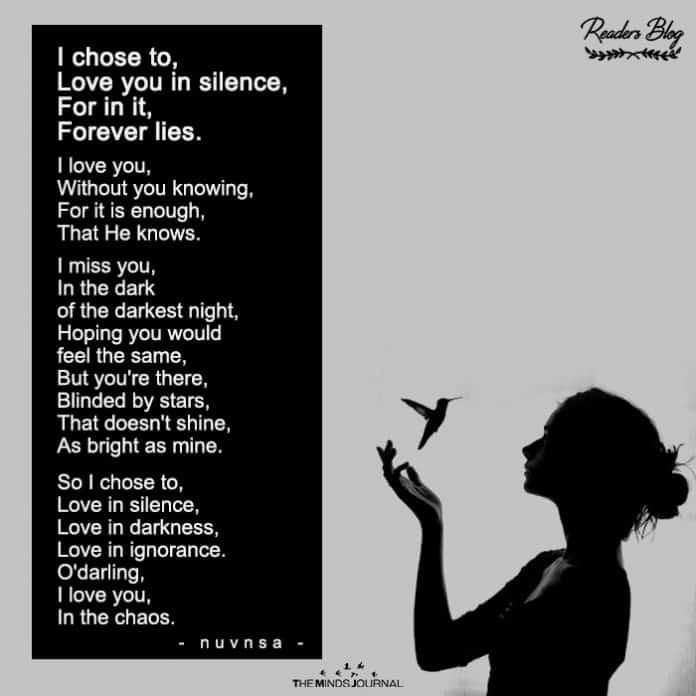 I chose to