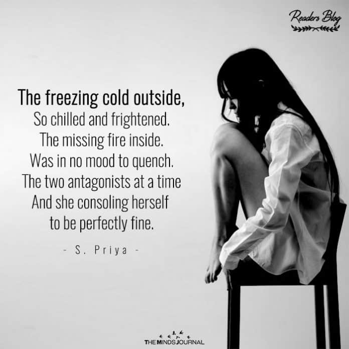 The freezing cold outside