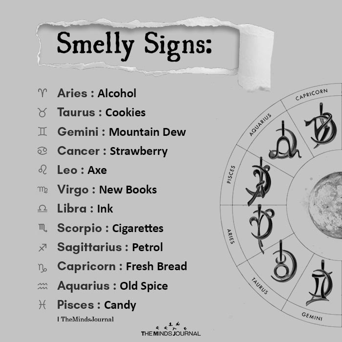 Smelly Signs Aries Alcohol Taurus Cookies Gemini Mountain Dew