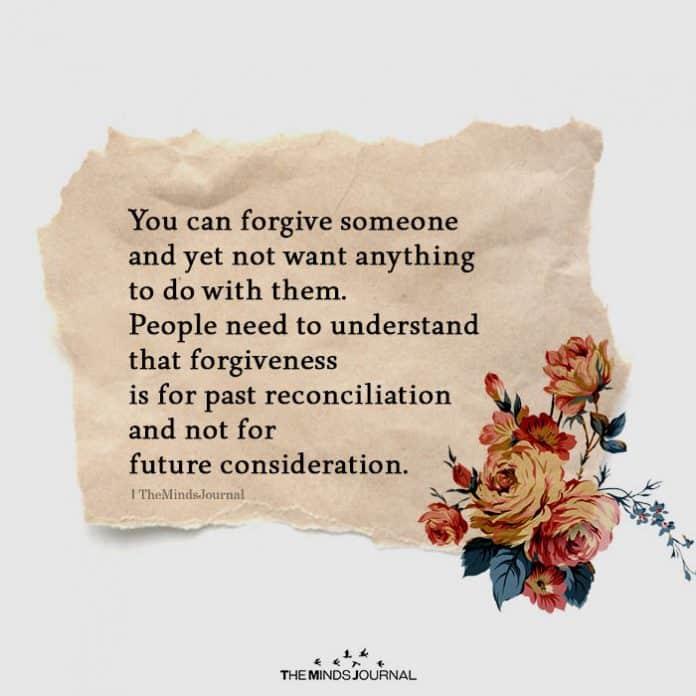 Reasons to forgive