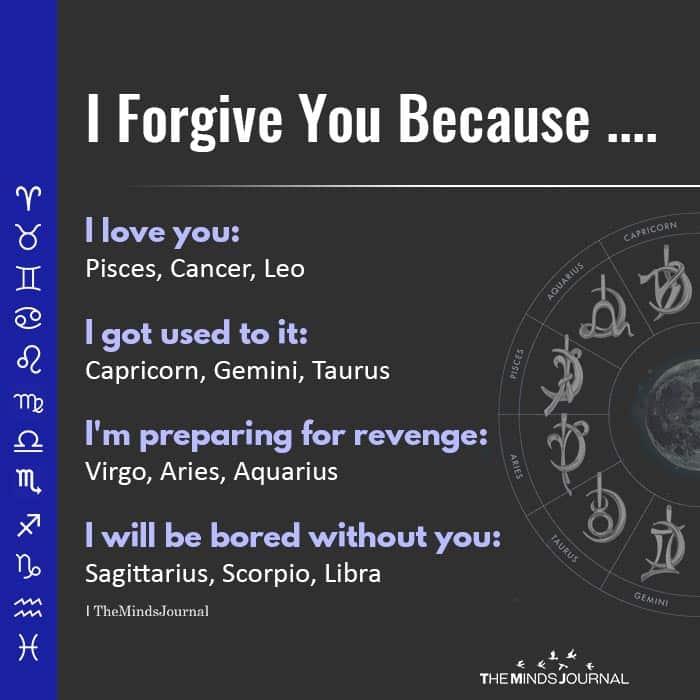 Zodiac Signs Reason For Forgiving