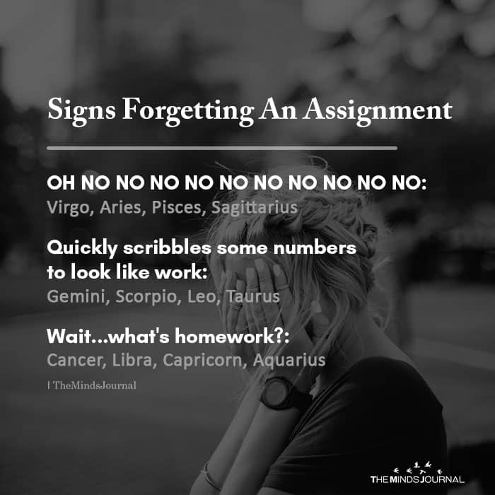 Signs forgetting an assignment