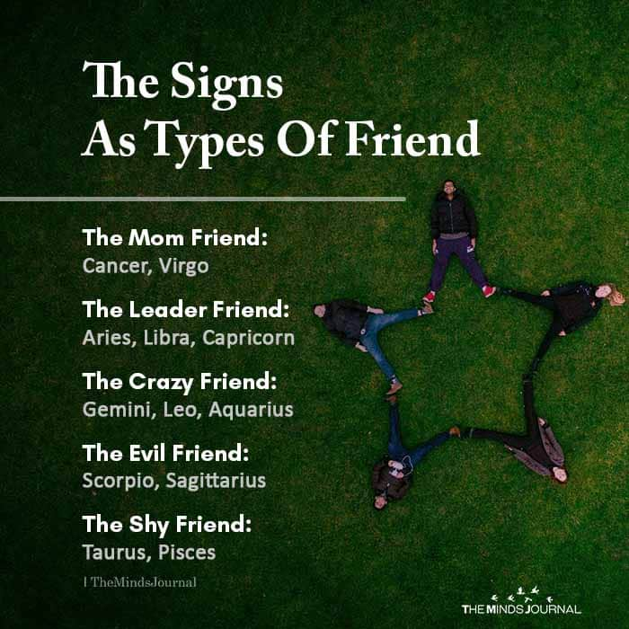 The Signs As Types Of Friend