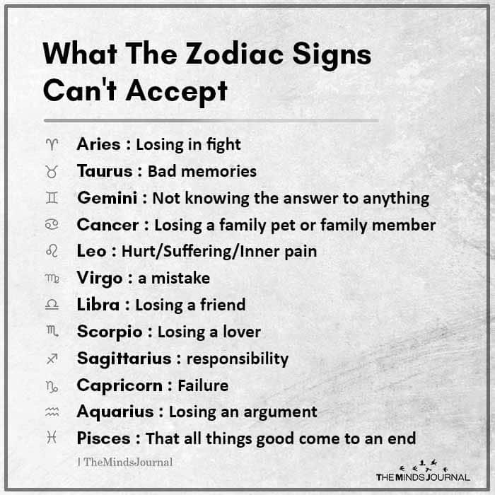 What The Zodiac Signs Can't Accept