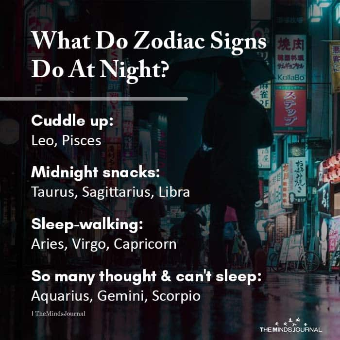 What do zodiac signs do at night?