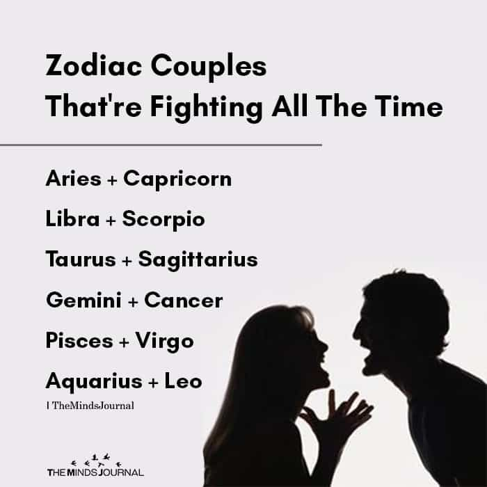 Zodiac Couples That're Fighting All The Time