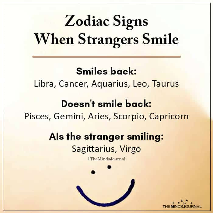 Zodiac Signs When Strangers Smile