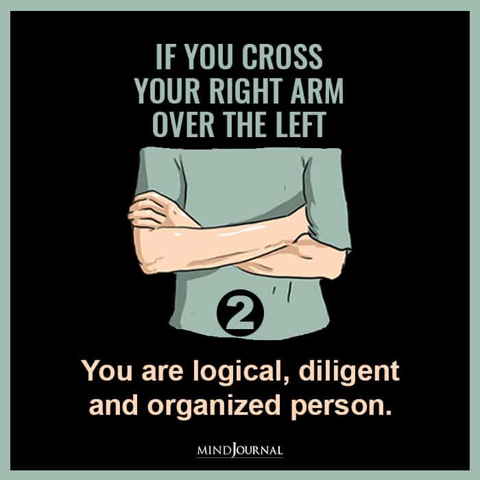If You cross your right arm over the left