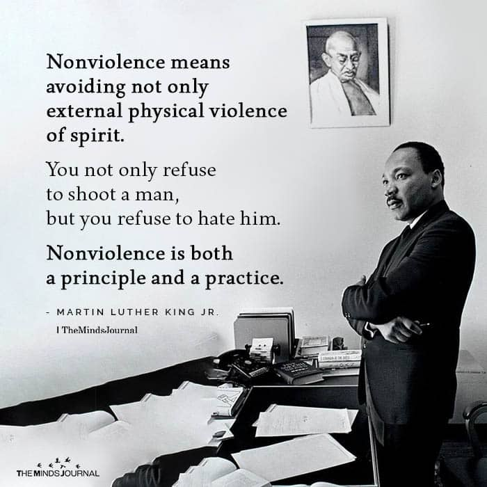 Non violence means avoiding not only external physical violence