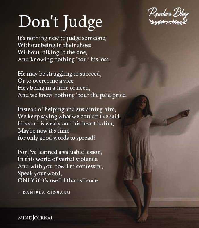 Its nothing new to judge someone