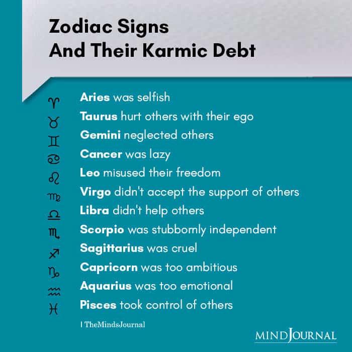 Zodiac Signs Their Karmic Debt