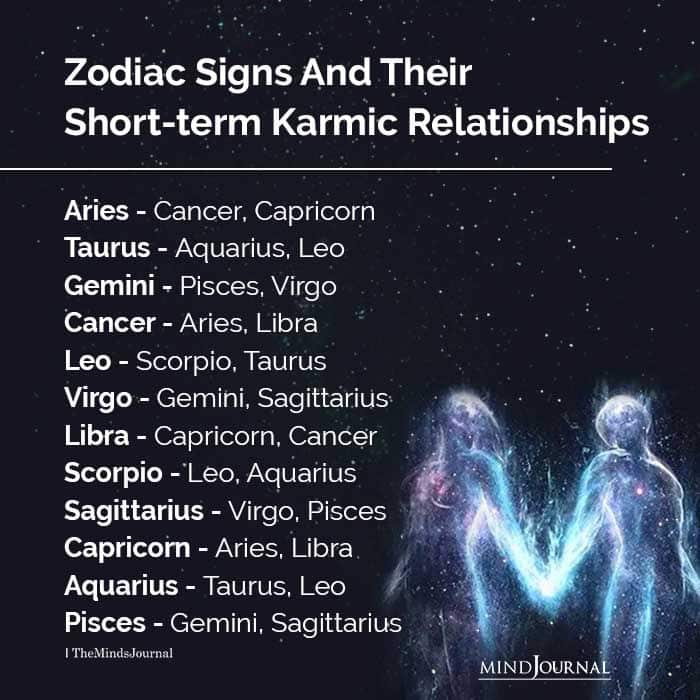 Zodiac Signs And Their Short-term Karmic Relationships
