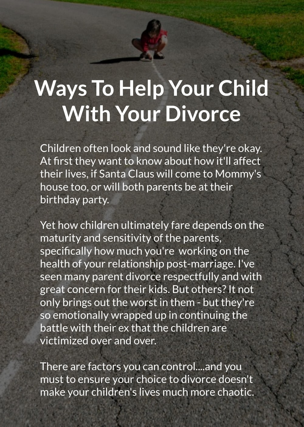 Help Your Child With Your Divorce