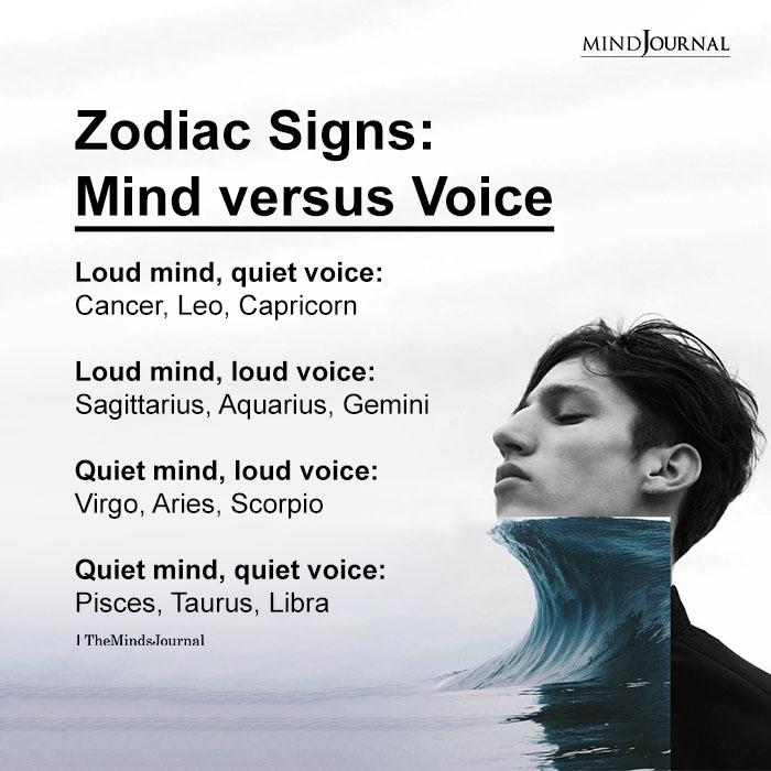 Zodiac Signs Mind versus Voice