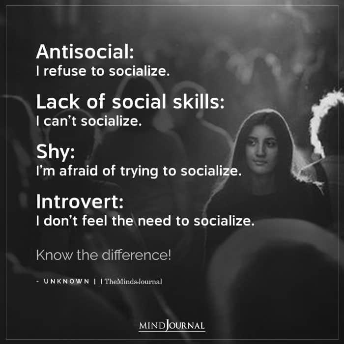 social skills vs. antisocial vs. introvert