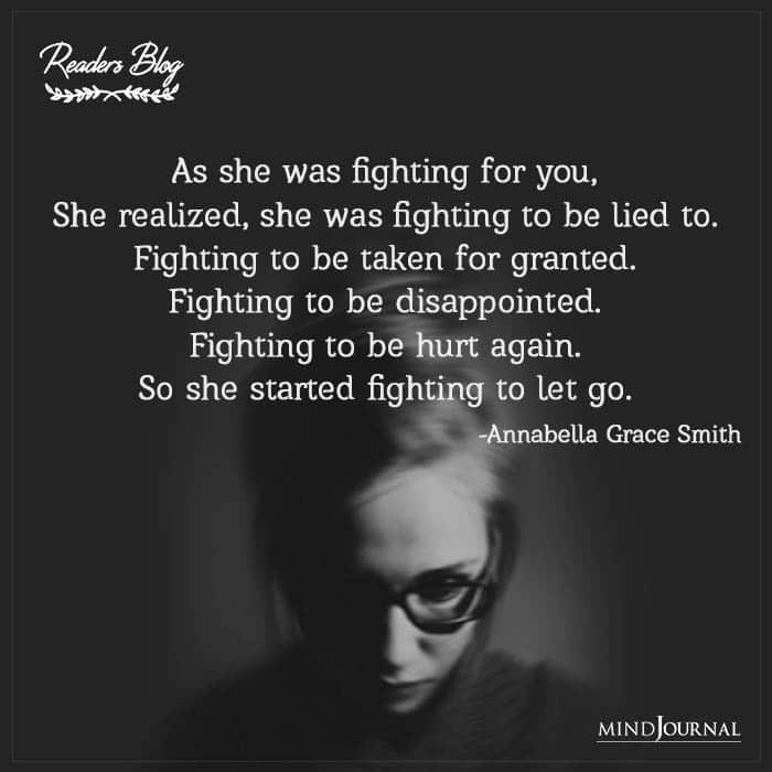 She Started Fighting To Let Go