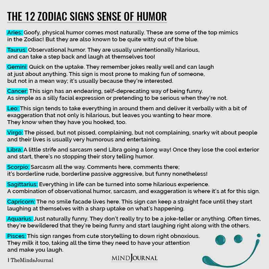 The 12 Zodiac Signs Sense Of Humor