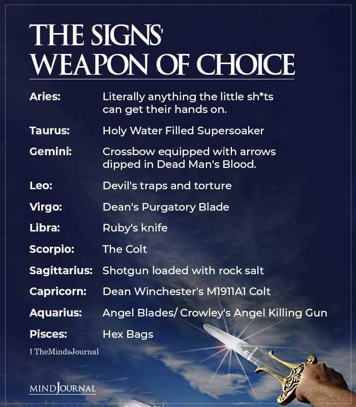 Zodiac Signs Weapon Of Choice