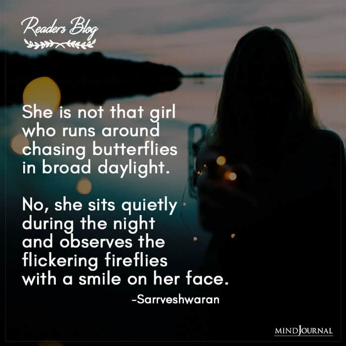 She Observes The Flickering Fireflies