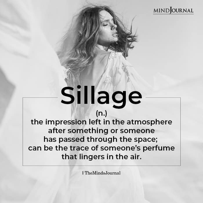 Sillage broadly means the impression
