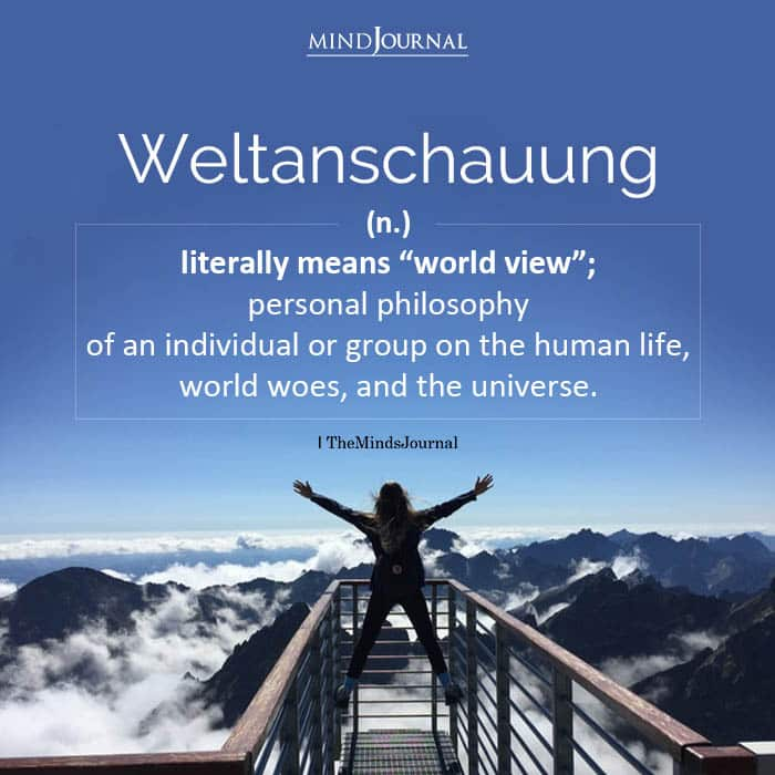 Weltanschauung literally means world view