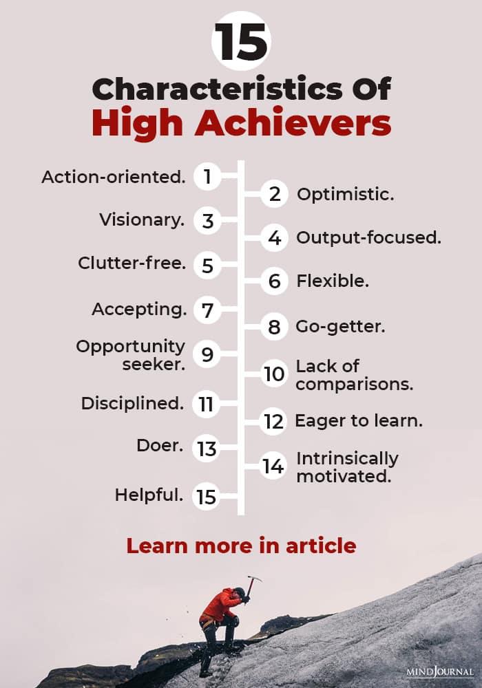 Characteristics High Achiever infograhics