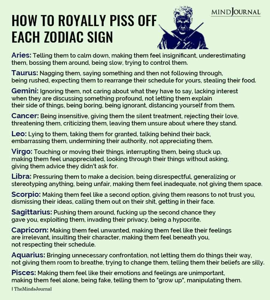 How To Royally Piss Off Each Zodiac Sign
