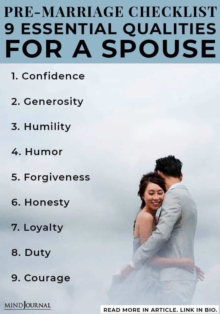 Qualities Spouse PreMarriage Checklist infographic