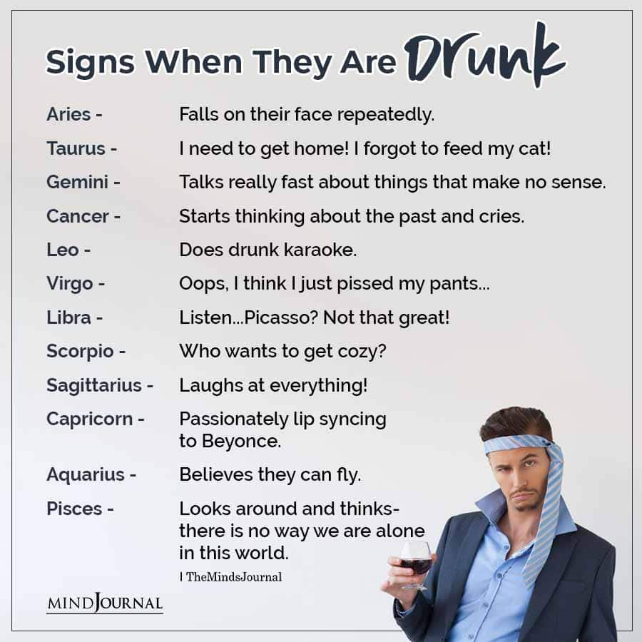 The Signs When They Are Drunk
