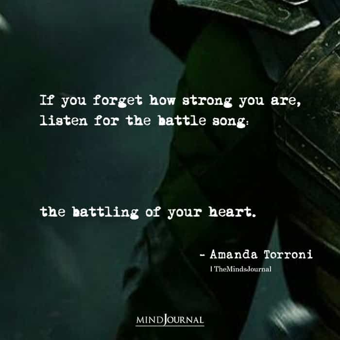 If you forget how strong you are listen for the battle song