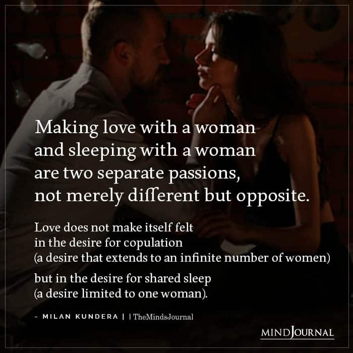 Making Love With A Woman And Sleeping With A Woman