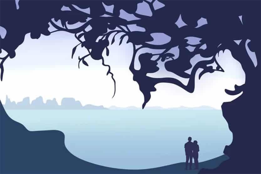 Optical Illusion Trees Couple Baby