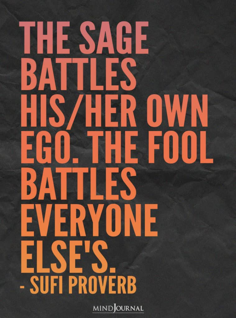 The sage battles his her own ego.