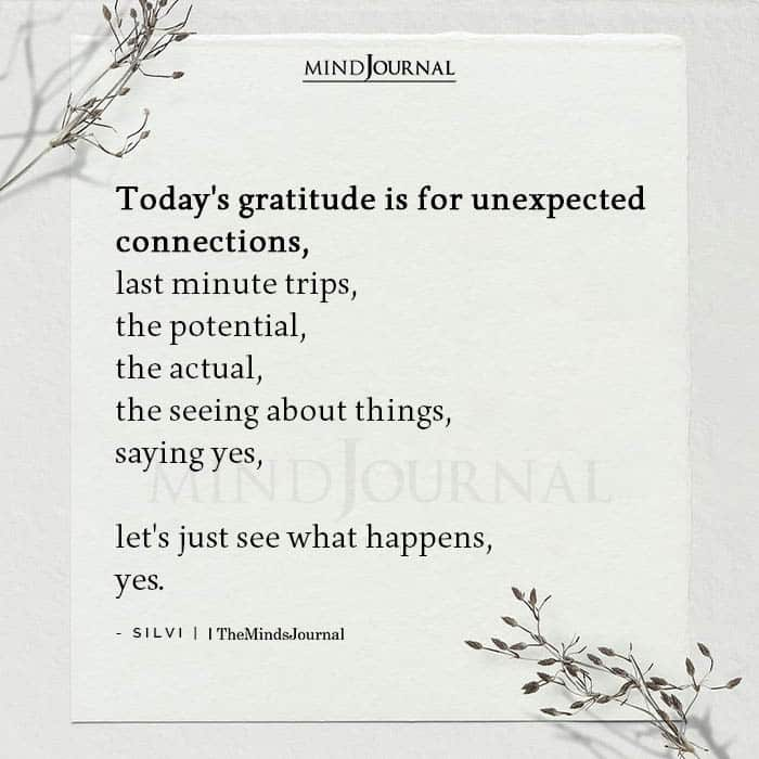 Todays gratitude is for unexpected connections