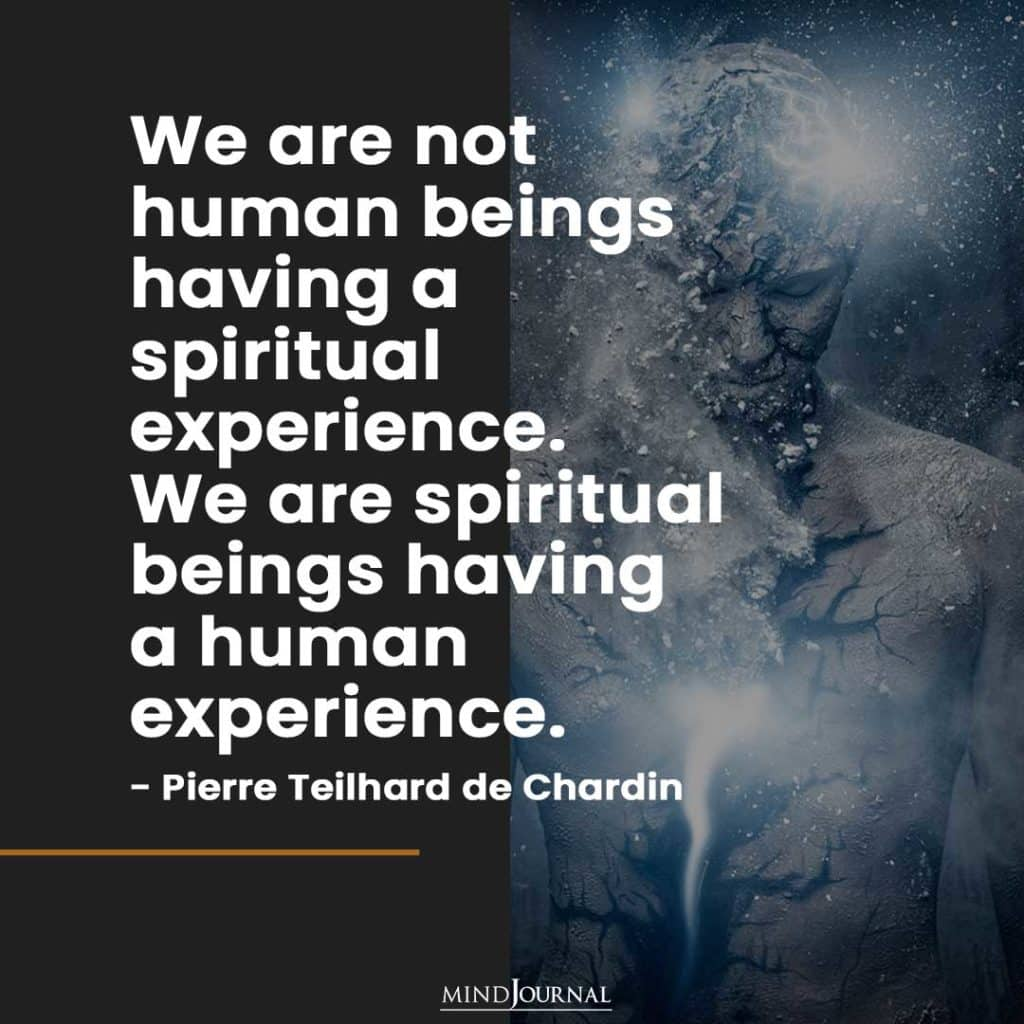We are not human beings having a spiritual experience.