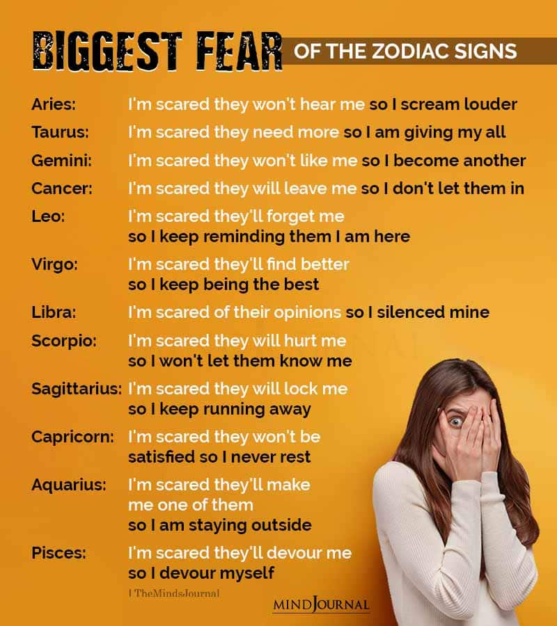 Biggest Fear Of The Zodiac Signs