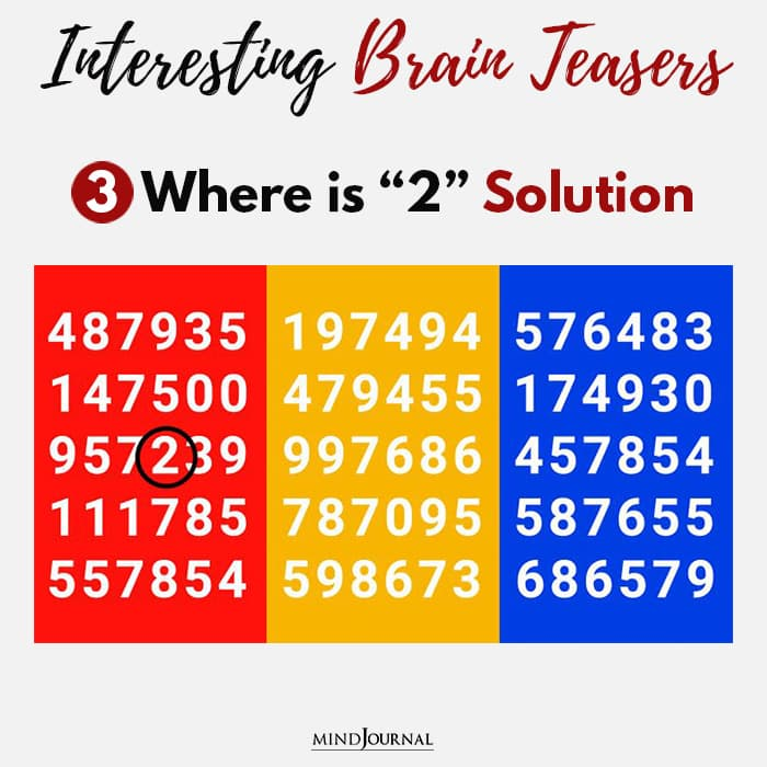 Brain Teasers Know Sharp Eyes where two solution