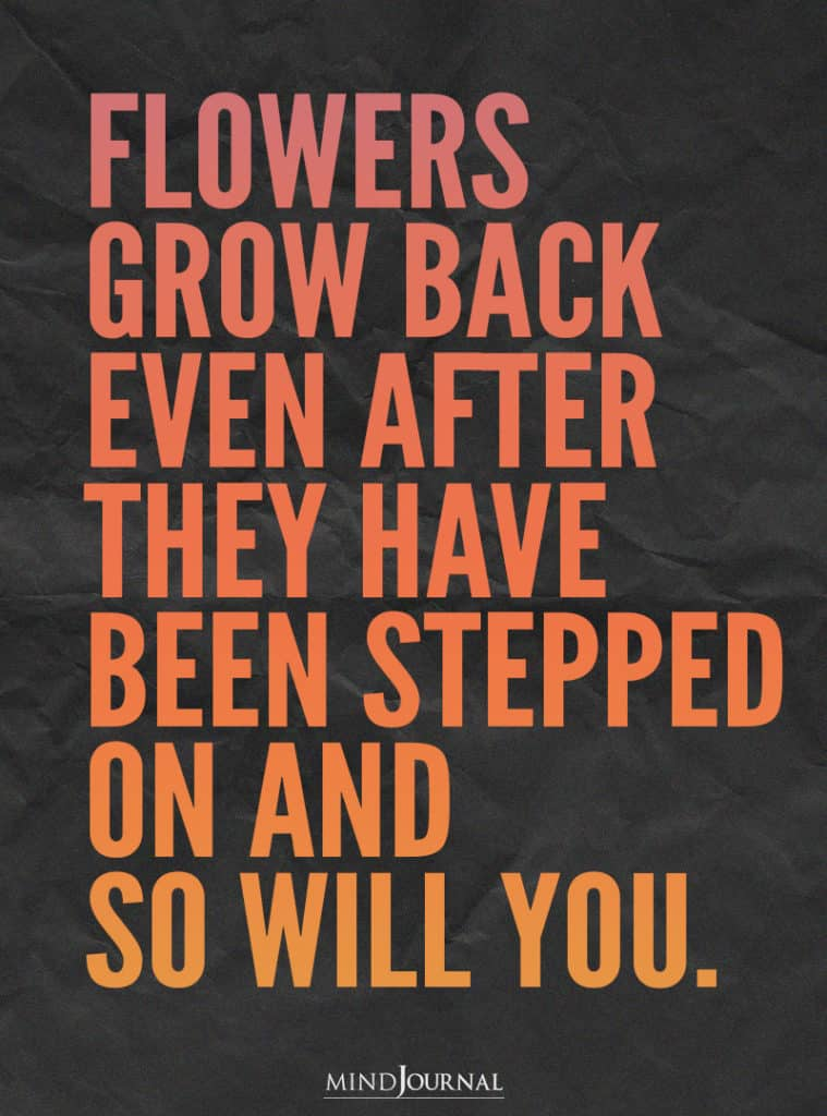 Flowers grow back even after they have been stepped on.