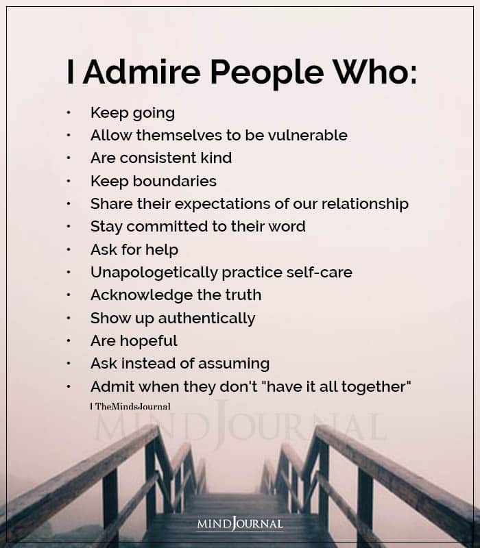 I Admire People Who Keep Going
