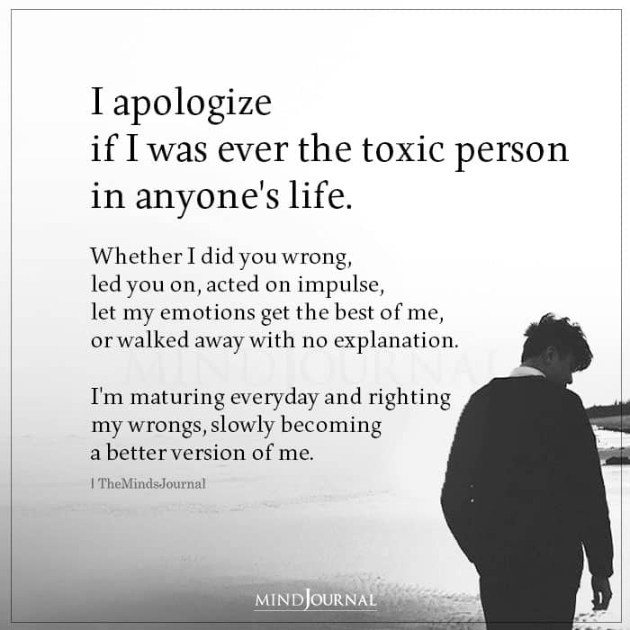 I Apologize If I Was Ever The Toxic Person