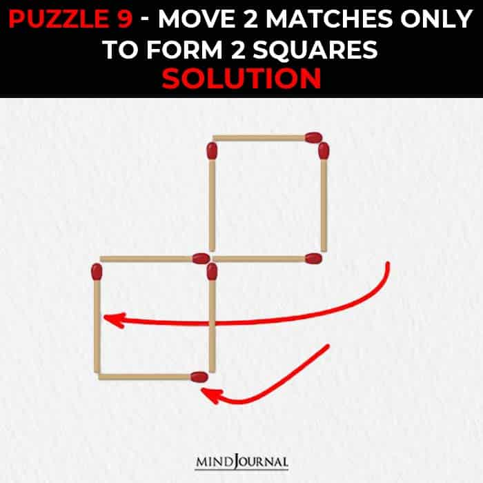 Matchstick Puzzle Logic Skills move two sticks form two triangles solution