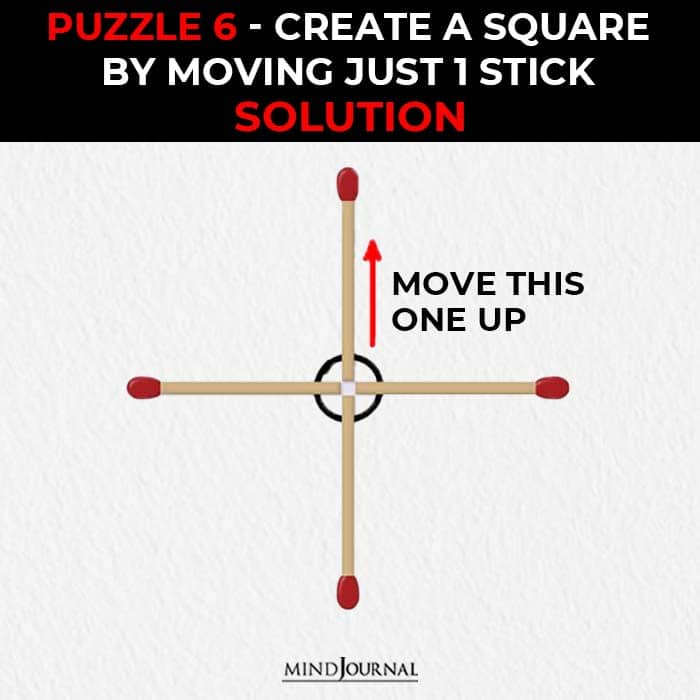 Matchstick Puzzles Test Logic Skills make square by one stick solution