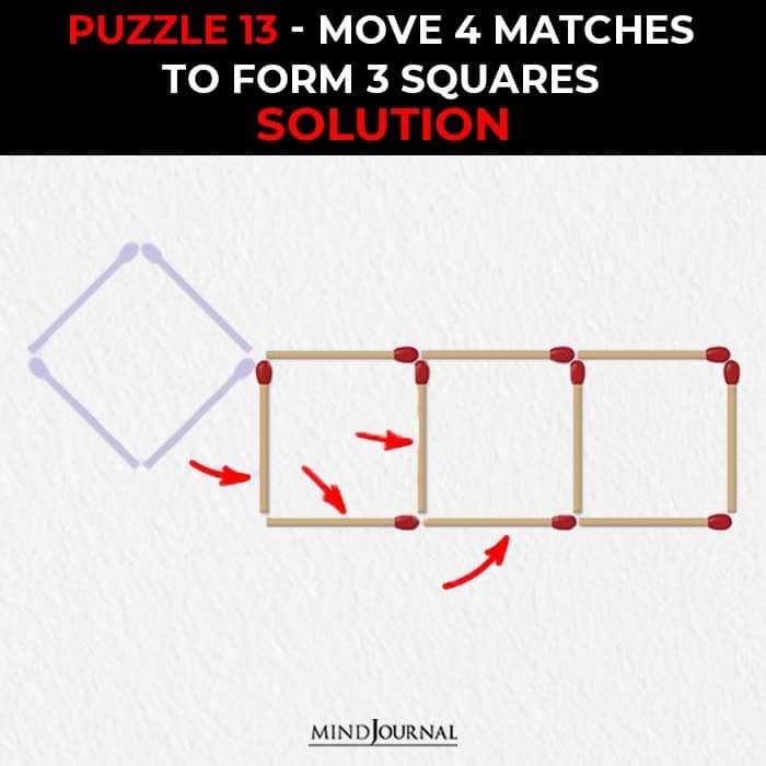 Matchstick Puzzles Test Logic Skills move four sticks form three squares solution