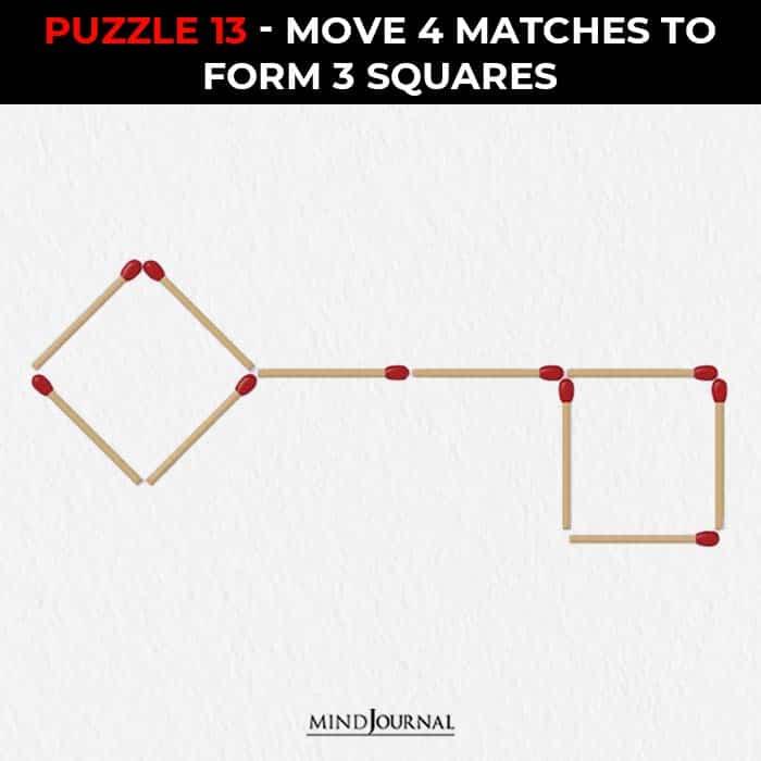 Matchstick Puzzles Test Logic Skills move four sticks form three squares