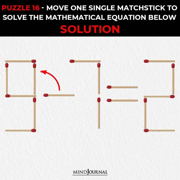 Matchstick Puzzles Test Logic Skills move one stick solve equation solution