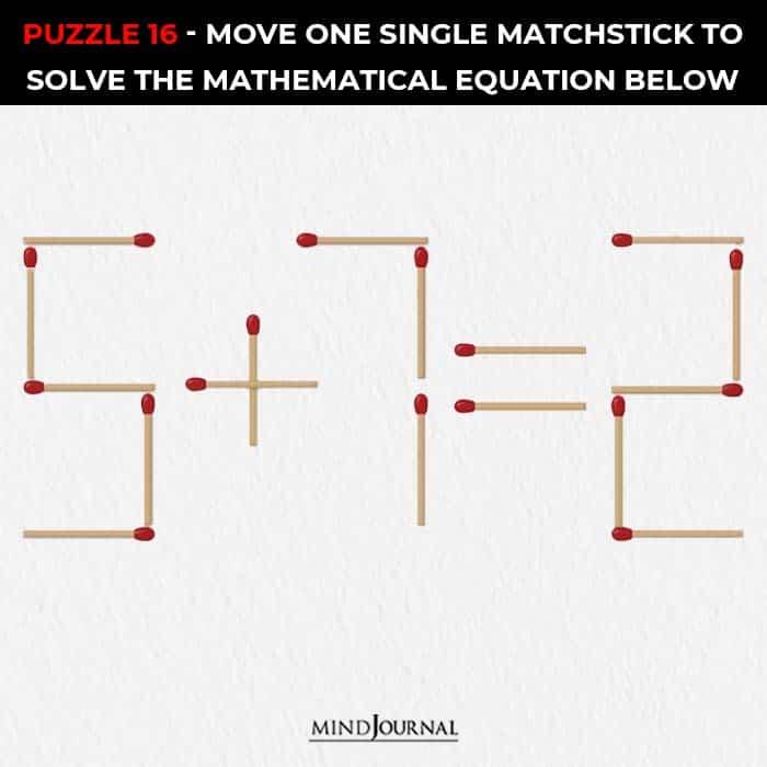 Matchstick Puzzles Test Logic Skills move one stick solve equation