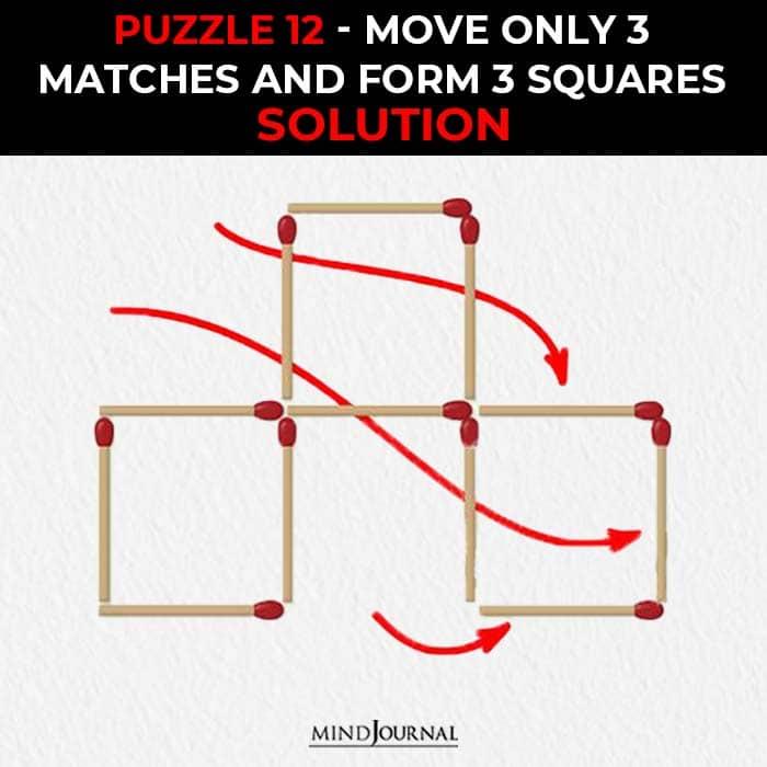 Matchstick Puzzles Test Logic Skills move three sticks form three squares solution