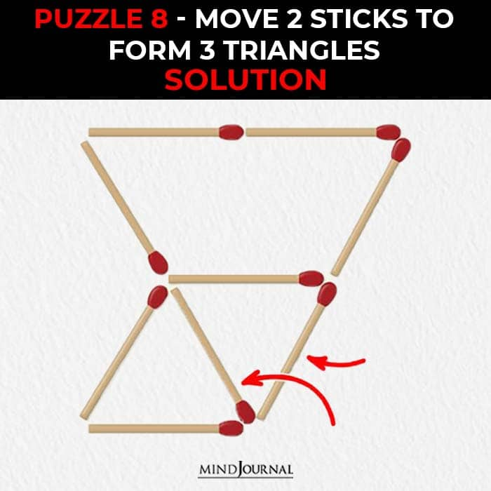 Matchstick Puzzles Test Logic Skills move two sticks form three triangles solution