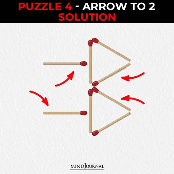 Matchstick Puzzles Test Logic Skills one arrow to two solution