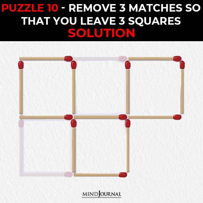 Matchstick Puzzles Test Logic Skills remove leave squares solution